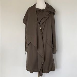 All Saints Assymetrical Grey Trench Coat. NWT